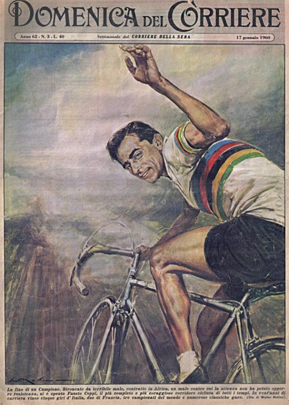 Fausto Coppi sulla copertina della Domenica del Corriere