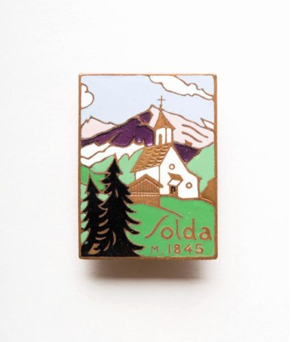 Solda old badge with mountain view