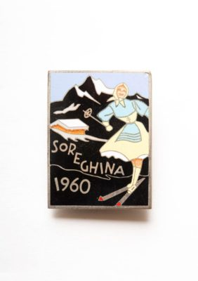 Sorellina old badge with mountain view and women