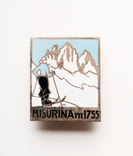 Misurina old badge with mountain view